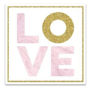 "Glam LOVE Embellished Glitter Canvas-NWT-12"" x 12"""